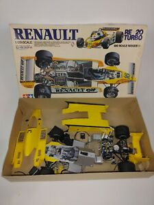 Vintage 1/12 Scale Tamiya Renault RE 20 TURBO F1 Model Kit Partially Assembled