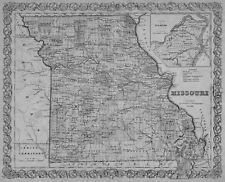 1855 MISSOURI MAP MO LACLEDE LAFAYETTE LAWRENCE LEWIS LINCOLN LINN COUNTY large