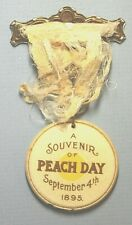 Grand Junction Colorda Ribbon Pin Peach Day 1895 41mm Ribbon Painted Souvenir