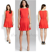 $368 Alice + Olivia Red Shana Pleated Flare dress NWT  Size  M