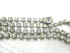 """VINTAGE ESTATE WEISS SILVER TONE NECKLACE PRONG SET GLASS RHINESTONE SIGNED 15"""""""