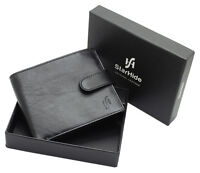 MENS RFID BLOCKING REAL LEATHER WALLET ID & COIN POCKET GIFT BOXED 1100-VT BLACK