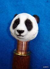 Orig HandMade dark Walnut *PANDA-BEAR CANE* walking stick copper collar~gift