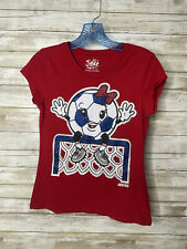 """Justice Girls Size 14 Red SOCCER T-shirt """"Look Mom No Hands"""" Glitter Sparkle"""