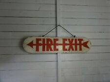 Vintage Reclaimed Industrial Double Sided Hanging HAND PAINTED Fire Exit Sign