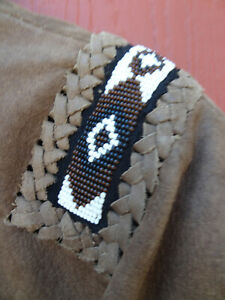 Men's Western Wear Suede Leather & Beaded Jacket Native American Shirt Pre0wned