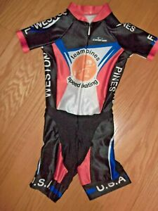 CANARIAM SPEED SKATING ONE PIECE COMPRESSION SUIT KID SIZE 6 **EUC**