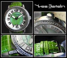 Unisex Reloj De Diseño Acero Inoxidable Pulido fácilmente LEGIBLE grünes-perlmut