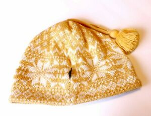 Obermeyer Ski Hat - wool and acrylic - Womens One Size - Yellow+snowflakes