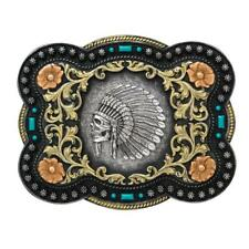 Nocona Western Mens Buckle Indian Chief Skull Floral Scroll Antique Silver 37038