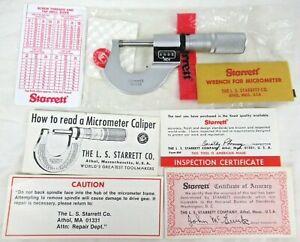 "Starrett No. 216 Mechanical Micrometer .001"" - 1"" w/ Certificate & Wrench"