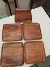 Lot Of 5 Teak (?) Wood Serving Trays Or Tv Trays Solid Wood