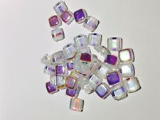 Czech Flat Square Beads 40 x Clear AB Twin Hole glass bead