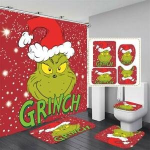 How the Grinch Stole Christmas Shower Curtain Bath Mat Toilet Cover Rug Grinch