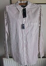 Mulberry Mix Stripe Long Sleeve Cotton Shirt, No Peep Placket, Size 12, M&S,BNWT