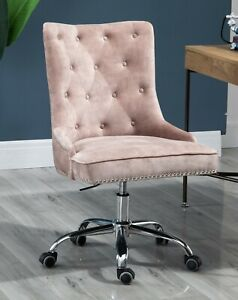Velvet Fabric Upholstered Tufted Home Office Chair with Studs-Champagne