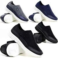 Ladies Womens Go Walking Slip On Gym Fitness Casual Running Trainers Shoes Size