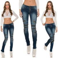 KouCla Women's Knee Zip Skinny Denim Jeans - S/M/L/XL