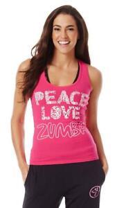 Zumba Peace Love N Racerback Tank Top - Fuchsia Pink ~ Medium ~ New! ~ Free Ship