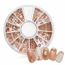 3D Nail Art Decoration Metallic Gold Rose Metal Jewelry Glitters DIY Wheel