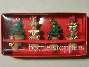 2006 Boston Warehouse Set of 4 Dangle Holiday Bottle Stoppers