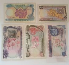 Rare Set of 5 Orchid Series Bank Notes, Old Singapore Bank Notes $25 to $1000