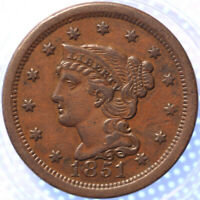 "1851 ""BRAIDED HAIR"" LARGE CENT, NICE TYPE COIN, PROBLEM FREE COIN!"