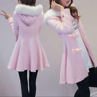 Ladies Bowknot Fur Collar Hooded Wool Blend Jacket Coat New Lolita Windbreaker