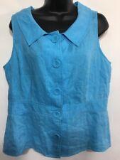 Richard Malcolm Women's Sleeveless Blouse Shirt 100% Linen Blue Size L Large