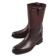 NIB $2200 SANTONI Fatte a Mano Shearling-Lined Calf Leather Boots US 9