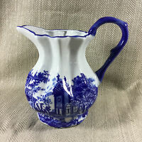 Large Blue & White Pottery Jug  Victorian Antique Style Ironstone