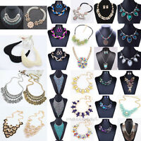 Luxury Womens Charms Jewelry Pendant Chain Crystal Statement Bib Necklace Collar