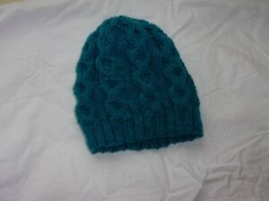 Men's Bright Blue Hand Knit Cabled Beanie - BNWOT