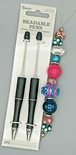 3 pc Beaded Pen Kit, 2 Black Plastic pens, 1 Strand Large Hole Beads, B-A495