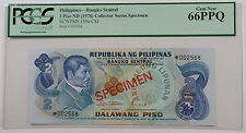 (1978) Philippines 2 Piso Specimen Note SCWPM# 159a-CS1 PCGS 66 PPQ Gem New