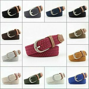 Men's Leather Covered Buckle Woven Canvas Elastic Stretch Belt Waistband new