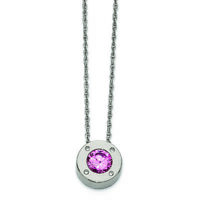 """Chisel Stainless Steel Polished CZ October Birthstone Necklace 20"""""""