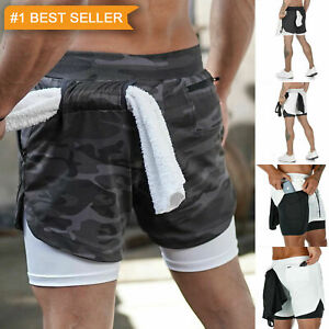 Men Running Shorts 2 in 1 Sports Jogging GYM Fitness Training Quick Dry Breathab