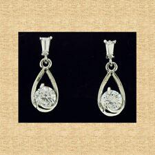 Tear Drop Designer Cubic Zirconia Earrings White Gold Plated