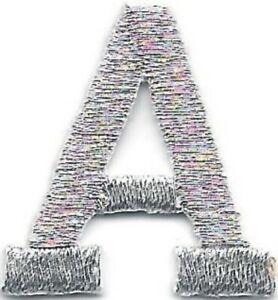 """1 """" Grand Brillant Métallique Argent Monogramme Bloc Lettre A Broderie Patch"""