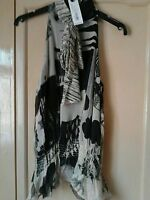 FULL CIRCLE  BLACK CREAM HIGH  NECK WITH TIE SLEEVELESS SIZE 10S BNWT