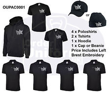 Embroidered Work Wear Package t-shirts poloshirts hoodies business logo text