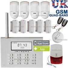 WIRELESS LCD SECURITY DUAL GSM / PSTN AUTODIAL HOUSE BURGLAR INTRUDER FIRE ALARM