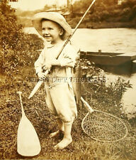 ANTIQUE FISHING REPRODUCTION 8X10 PHOTOGRAPH BOY ROD REEL PADDLE NET WALLEYE