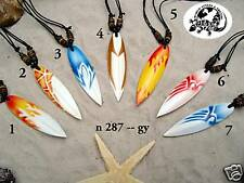 7 Mix Design Wooden Surfboard Necklaces Beads Surf Surfer Retro Necklace/ N287gy