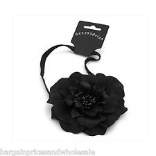 10mm Large Stunning Black Flower Elastic Hairband HeadWrap CHEAPEST ON EBAY