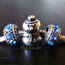 Snowman European Bead And Rhinestone Birthstones For European Charm Bracelets