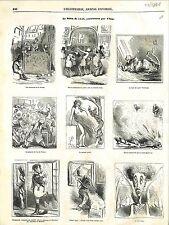 Barricade Révolution Serment jeu de Paume Napoléon Caricature Cham GRAVURE 1848