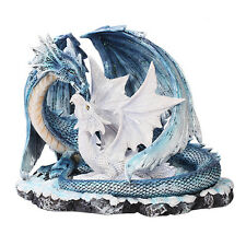 Mystical Ancient Blue Mother Dragon White Dragonlet Baby Dragon Family Statue
