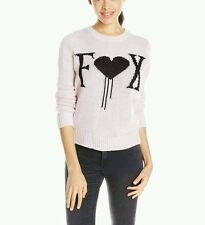 $56 Fox Racing Women's Cold Hearts Pale Pink Sweater Logo Jacquard Size M